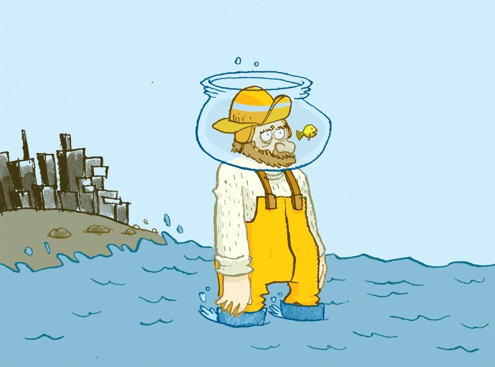 """Blogging kan til og med få en fiskemann til å se utenfor sin egen """"fiskebolle"""". Illustrasjon Jens K. Styve"""