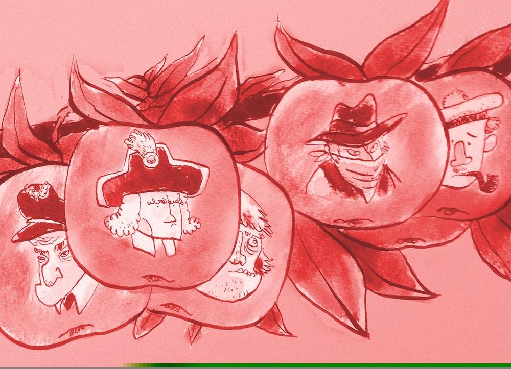 Å få tegnet opp sitt familietre er populære greier, men en vet aldri hvilke banditt-epler som dukker opp. (Illustrasjon Jens K. Styve)