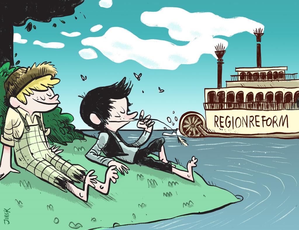 De to gode vennene Troms og Huckleberry Finnmark kan ikke la regionrefomen seile forbi. (Illstrasjon Jens K. Styve)